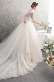 Robe de mariée Tulle Cérémonial a ligne Couvert de Dentelle Col U Profond