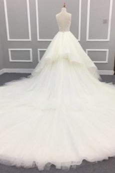 Robe de mariage Eglise gossamer Naturel taille Gaze Hiver Traîne Longue