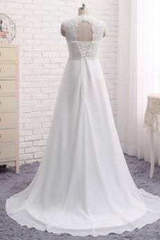 Robe de mariage Plage Naturel taille Longue Taille haute Couvert de Dentelle
