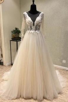 Robe de mariée Tulle Ample & Ornée Gaze Été Traîne Moyenne A-ligne