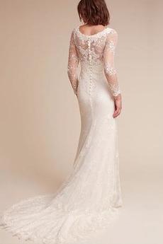 Robe de mariée Sirène Dentelle Gaze Printemps Modeste De plein air