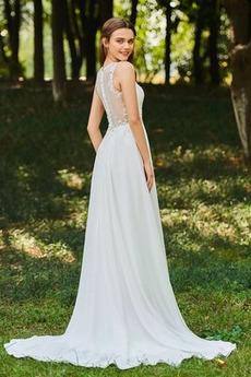 Robe de mariée Dos nu Col en V Drapé Sans Manches aligne De plein air