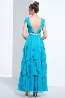 Robe de bal Longueur Cheville Printemps Fleurs Elégant Mousseline