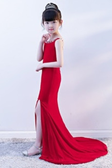 Robe de fille de fleur Sirène Perle Sans Manches Chic Manquant