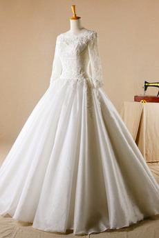Robe de mariage Glissière Chapelle Formelle Traîne Courte Naturel taille