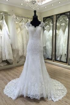 Robe de mariée Manche Courte Eglise Automne Dentelle Longue Col en V