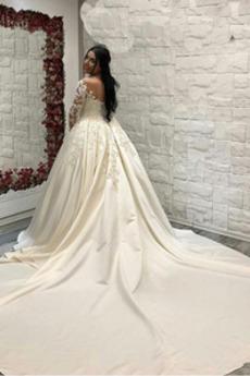 Robe de mariée Ancien Automne Manche Longue Sablier Longue Satin
