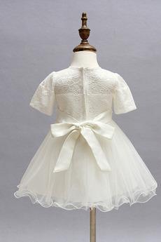 Robe de fille de fleur Tulle Manche Courte Fermeture à glissière