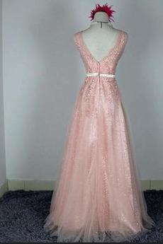 Robe de demoiselle d'honneur Chic A-ligne Glissière Rose Printemps