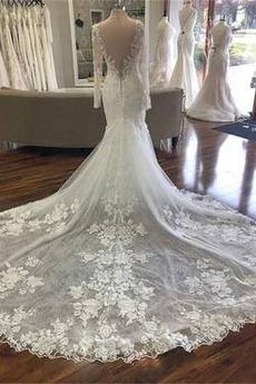 Robe de mariée Dos nu Dentelle Col en V Été Décalcomanie Cérémonial