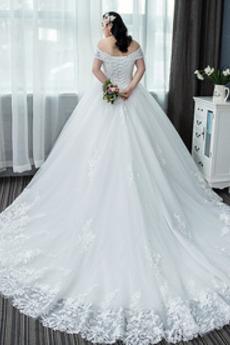 Robe de mariage Col en V Naturel taille Formelle Laçage Satin