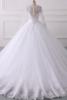 Robe de mariée A-ligne Dentelle Fermeture éclair Col en V Manche Aérienne
