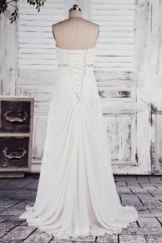 Robe de mariée Empire Longue Laçage De plein air Sans bretelles