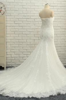 Robe de mariage Longueur au sol Plus la taille Couvert de Dentelle