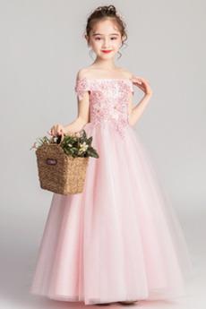 Robe de fille de fleur a ligne Été Corsage Avec Bijoux Formelle