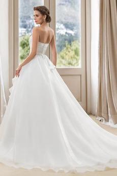 Robe de mariage Perle Corsage plissé Dos nu Automne Salle Traîne Courte
