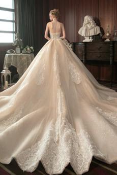Robe de mariée Tulle Sans Manches Traîne Royal Décalcomanie A-ligne