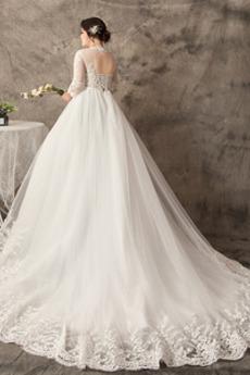 Robe de mariée Été Naturel taille a ligne Manche Aérienne Drapé