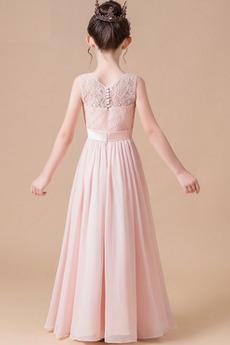 Robe de fille de fleur Ballon Mousseline A-ligne Médium Simple