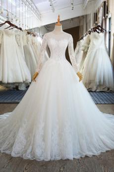 Robe de mariée Laçage Soie Luxueux Médium Manche Aérienne Naturel taille