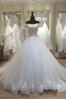 Robe de mariée Manche Courte Laçage Norme Mancheron A-ligne Dentelle