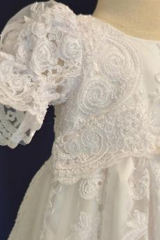Robe de fille de fleur Dentelle Manche Courte Lanterne Princesse