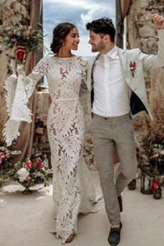 Robe de mariée Été Poire Col Bateau Chic Plage Dentelle Longue