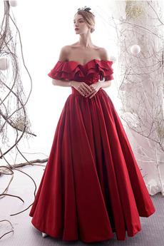 Robe de soirée noble aligne Taffetas Rosée épaule Naturel taille