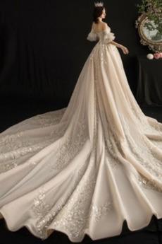 Robe de mariage Tulle aligne Traîne Longue Salle Printemps Fermeture éclair