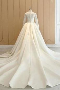 Robe de mariée Manche Longue Haute Couvert Eglise Manche de T-shirt