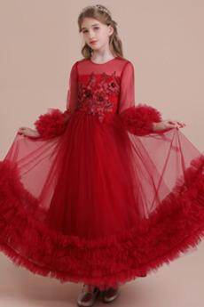 Robe de fille de fleur aligne Décalcomanie Fermeture éclair Été