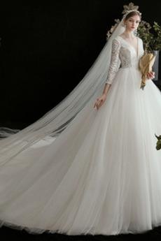 Robe de mariée Col en V Naturel taille Manche de T-shirt Printemps