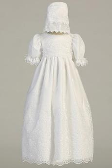 Robe de fille de fleur Cérémonie Longue Chapeau Blanche Naturel taille