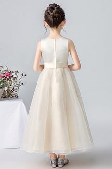 Robe de fille de fleur Mariage Orné de Nœud à Boucle Organza