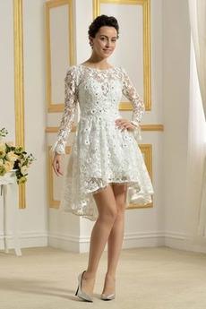 Robe de mariée Naturel taille Fermeture à glissière Froid Col Bateau