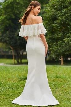 Robe de mariée Manquant Rivage Rosée épaule Traîne Courte Froid