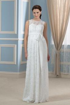 Robe de mariée Grossesse Empire Gaze Simple Sans Manches Taille haute