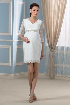 Robe de mariage a ligne Col en V Glissière Maternité Manche Aérienne
