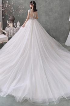 Robe de mariage Hiver aligne Col U Profond Manche Courte Gazer