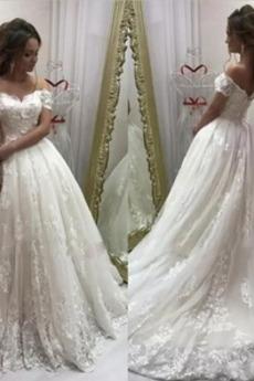 Robe de mariée Tulle A-ligne Manche Courte Cérémonial Appliquer