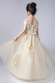 Robe de fille de fleur Nœud à Boucles Printemps Formelle Mariage