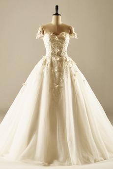 Robe de mariée Naturel taille Dentelle Chaussez Princesse Organza
