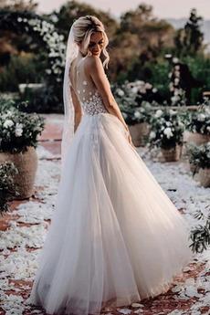 Robe de mariée Col en V De plein air Perspectif Fermeture à glissière