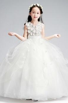 Robe de fille de fleur Balançoire A-ligne Glissière Longueur Cheville