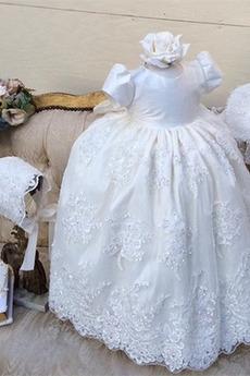 Robe de fille de fleur A-ligne Chapeau Naturel taille Manche Courte