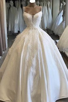 Robe de mariée Traîne Moyenne A-ligne Bretelles Spaghetti Fourreau Avec Bijoux