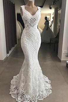 Robe de mariée Sirène Mode Dentelle Naturel taille Sans Manches