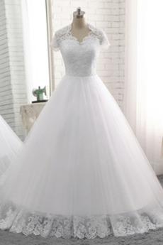 Robe de mariage a ligne Épaule de la reine Chapelle Naturel taille