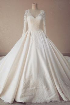 Robe de mariée Col en V Printemps Drapé Naturel taille Cathédrale