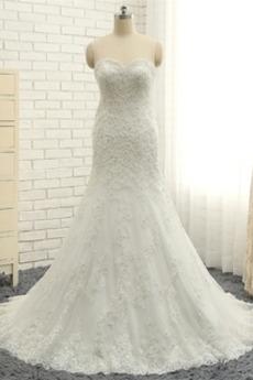 Robe de mariée Tulle Naturel taille Décalcomanie Col en Cœur